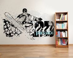 Wallpaper Sticker SNOWBOARD by Sticky!!! Wallpaper Stickers, Wall Stickers, Photo Wallpaper, Snowboard, Wall Murals, Canvas Prints, Home Decor, Wall Clings, Decoration Home