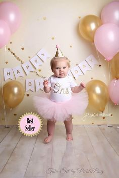 Pink and Gold First Birthday Tutu Set set)! - Custom, Made to Order (processing times apply) Custom SEWN Baby Pink Tutu with Gold Glitter One Bodysuit and Glitter Mini Party HatPink and Silver Cake Smash Outfit Girl First Birthday OutfitShop for firs Gold First Birthday Outfit, 1st Birthday Photoshoot, Baby Girl 1st Birthday, First Birthday Photos, Gold Birthday, Princess First Birthday, 1st Birthday Party Ideas For Girls, Cake Smash Outfit Girl, Pink Und Gold