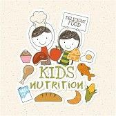 childrens food : Diseño de la Alimentación sobre fondo beige, ilustración vectorial Vectores