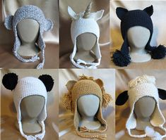 Some fun knitting for gifts or for yourself! A simple, fast to knit garter stitch earflap hat knitted with bulky yarn at a gauge of 14 sts to 4 inches. Embellished with ears and pom poms in 6 styles to frame the wearer's face. Or you can create your own animal!
