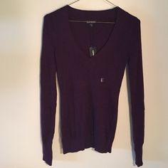 Oxblood v-neck sweater Brand new, never worn Oxblood sweater. Soft, stretchy fabric. Express Sweaters V-Necks