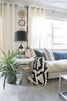 my yearly spring home tour with boho touches, wood tones, blue accents and added black and white patterns Black And Cream Living Room, Cream Living Rooms, Cheap Wall Decor, Diy Wall Decor, Home Decor, Wooden Wall Art, Wood Wall, Macrame Wall Hanging Diy, Bohemian Wall Decor