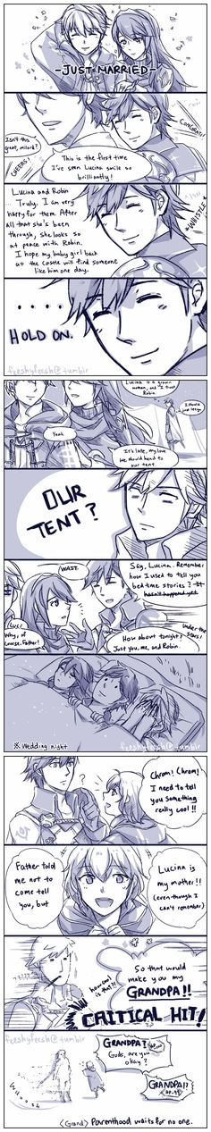 Poor Chrom... As if Lucina and Robin/Male Avatar getting married wasn't bad enough. The grandpa thing was the final blow...