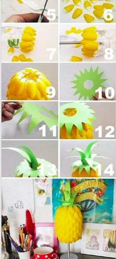 pineapple diy lamp out of plastic spoons steps 5-14