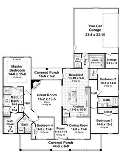 House Plan 59205 | Country Farmhouse Traditional Plan with 2402 Sq. Ft., 4 Bedrooms, 4 Bathrooms, 2 Car Garage at family home plans