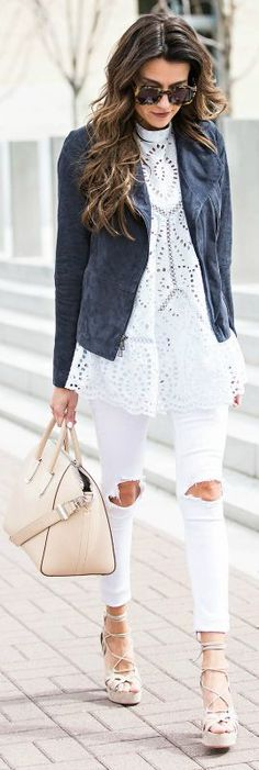 White jeans   super cute paired   classic suede jacket