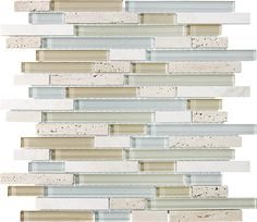 Kitchen Island Backsplash - Anatolia Bliss Spa Glass Stone Linear Blend Mosaics 35-009