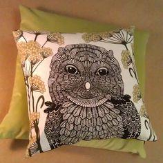 Screenprinted Owl cushion looking dandy on super large green velvet lushness. #artstar #design #cushion #owl #green #cotton #screenprint