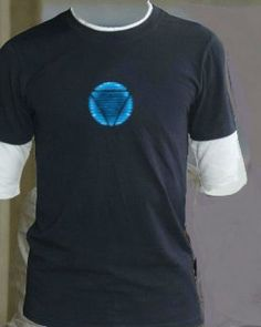 Iron man t-shirt design of luminous sign with short sleeve for men
