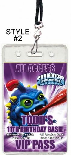 Skylanders Invitations, Birthday invitations, Skylanders Party Favors