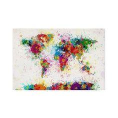 Michael Tompsett 'Paint Splashes World Map' Canvas Art ($60) ❤ liked on Polyvore