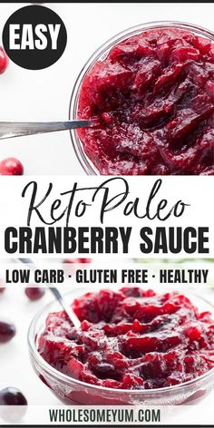 Healthy Low Carb Sugar-Free Cranberry Sauce Recipe - 4 Ingredients - This healthy, sugar-free cranberry sauce recipe requires just 4 ingredients. Made with fresh cranberries and no sugar, it's also low carb, paleo, and gluten-free. Chutney, Ketogenic Recipes, Diet Recipes, Recipes Dinner, Dinner Ideas, Vegetarian Recipes, Dessert Recipes, Sin Gluten, Gluten Free