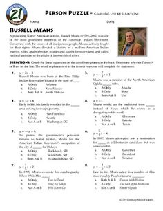 Person Puzzle: Algebra -- Graphing Linear Equations -- Russell Means
