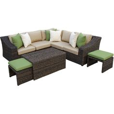 Serve snacks poolside or gather friends for cocktails with this resin wicker seating group, featuring a deep brown finish and contrasting pillows.