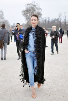 "Street Style WIth a Fashion Icon ULYANA SERGEENKO who critically eyed her outfit then thought,"" I know Demin will balance my ostrich cape!"""
