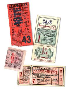 vintage baseball tickets...