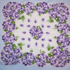 vintage hankie of violets...I always think of my Grandmother when I see vintage hankies, she had quite a collection, and it was always her go to gift for all the Grandaughters.
