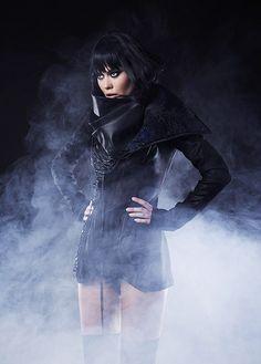 Iva Sokovic Night Sky Jacket - corset body and cascade collar with embedded sky map Power Dressing, Night Skies, Goth, Fall Winter, Women Wear, Sky, Corset, Fashion Design, Blue