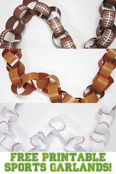 Sports themed party coming up? Need some garlands to hang up and make things festive! I've got you covered with three free printable sports garlands - football, basketball, and baseball. These are perfect for a kids' party but let's face facts - sports pa Sports Themed Birthday Party, Ball Birthday Parties, Sports Party, Birthday Ideas, Birthday Crafts, Birthday Games, 38th Birthday, Summer Birthday, Husband Birthday