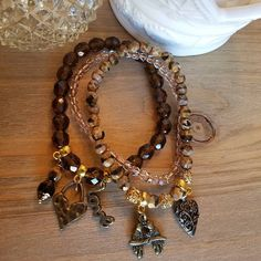 Items similar to Dark Amber, black and caramel faceted Czech with bronze findings and love themed on Etsy Handmade Necklaces, Handmade Gifts, Stackable Bracelets, Jewelry Design, Unique Jewelry, Faceted Crystal, Bracelet Set, Natural Stones, Caramel