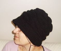 Knitted Womens Hat Black Hat Cable Knit Winter by earflaphats Winter Hats For Women, Hats For Men, Winter Accessories, Black Knit, Beanies, Cable Knit, Gifts For Mom, Hand Knitting, Knitted Hats