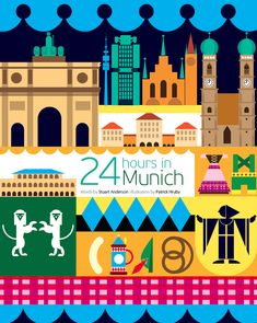 Patrick Hruby created the lovely 24 hours in Munich illustration which features some of the cities iconic landmarks but also it's famous folk dress and food Visit Germany, Munich Germany, Germany Travel, City Poster, Travel Around The World, Around The Worlds, Tourism Poster, Travel Illustration, World Cities