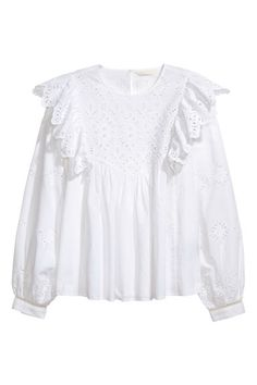 Blouse met broderie anglaise - Wit - DAMES | H&M NL 1