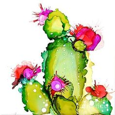 Alcohol Ink Painting - Prickly Pear Cooler by Marla BeyerChoose your favorite cactus paintings from millions of available designs. All cactus paintings ship within 48 hours and include a money-back guarantee.Marla Beyer - Artwork for Sale - Mahomet, Alcohol Ink Tiles, Alcohol Ink Glass, Alcohol Ink Crafts, Alcohol Ink Painting, Cactus Art, Cactus Flower, Cactus Plants, Watercolor Flowers, Watercolor Paintings
