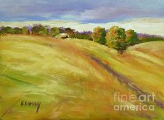 Golden Hills is an oil painting by artist Sally Simon: buy prints of this painting online at FineArtAmerica.com prints from $22 greeting cards also available