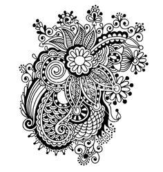 Hand draw black and white line art ornate flower vector - by kara-kotsya on VectorStock®
