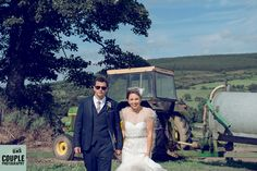 The bride and groom on the farm. Wedding photographed by Couple Photography.
