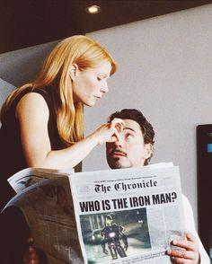 """Iron Man"" - Gwyneth Paltrow (Pepper Potts), Robert Downey Jr. (Tony Stark)"