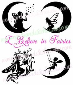 Fairies SVG - Believe SVG - Digital Cutting File - Silhouette SVG - Graphic Design - Vector Cut - Instant Download - Svg, Dxf, Jpg, Eps, Png by cardsandstitches on Etsy
