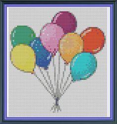 Cross Stitch Pattern Party Balloons  Cute cross stitch by Kookooed, £2.50