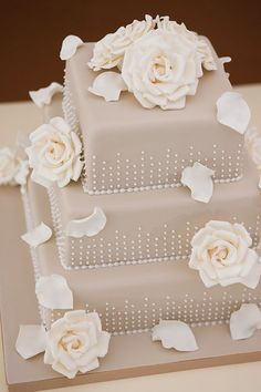 Falling Roses Wedding Cake, with Hand Crafted Sugar Roses