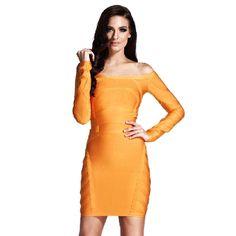 Herve Leger Off Shoulder Long Sleeve Bandage Dress Orange