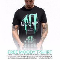 Compra 1 caixa de Moody Tattoo Aftercare 20ml e 1 T-Shirt Moody Style tu pagas o aftercare e nós pagamos a T-shirt.  Aproveita! Esta promoção é limitada a 1 unidade por cliente ao stock e medidas existentes.  #moodytattooproducts #moodystyle #pedradatattoosupplies #promo #oferta #tshirt #exclusive