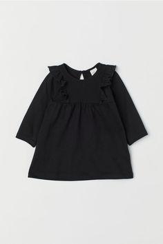 Jersey Dress with Ruffles - Black - Kids | H&M US 1