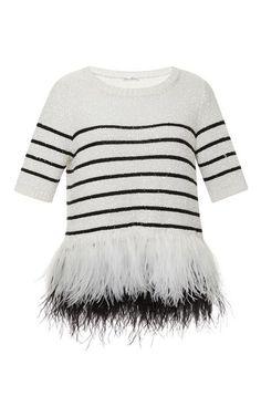 Striped Feather Hem Sweater by Oscar de la Renta - Moda Operandi
