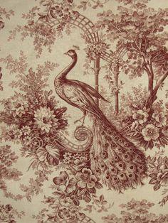 Antique French Toile c1890 Peacock Linen Vintage Retro Peacock Art Poster Print Postcard ☮~ღ~*~*✿⊱  レ o √ 乇 !! ~