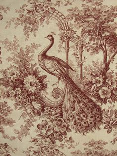 Antique French Toile c1890 Peacock Linen Vintage Retro Peacock Art Poster Print Postcard ☮~ღ~*~*✿⊱  レ o √ 乇 !! ~