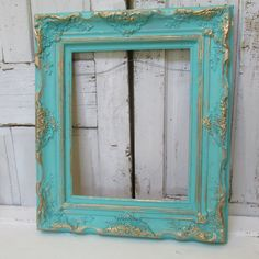 Large aqua wood frame shabby cottage hand painted custom beach blue and gold distressed vintage wooden ornate wall decor anita spero