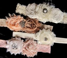 Shabby Chic Baby Headband Set  Vintage by PetalnPearlBoutique, $44.95