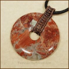 Copper and Red Jasper Donut Pendant Necklace