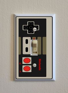 Nintendo Controller Switch Plate - Wall Plate Cover - video game gag gift single outlet gang mancave light toggle bedroom kids room Fits Standard Size USA Switch Plates( standard size double and outlet also) These Light Switch Pl Nintendo Room, Nintendo Controller, Super Nintendo, Video Game Bedroom, Video Game Rooms, Video Game Decor, Sala Nerd, Boy Room, Kids Room