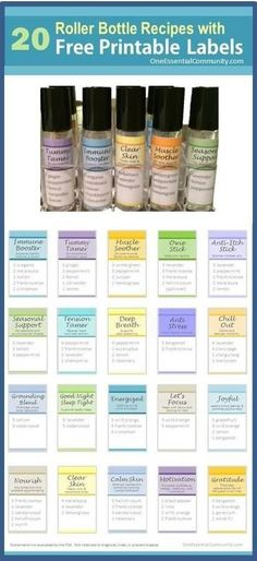 roller bottle recipes with FREE printable labels! Includes Immune Booster, Tummy…
