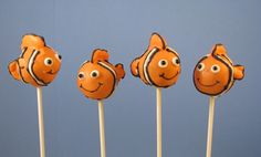 Finding Nemo Cake Pops! - Chocolate cake ball and I used starburst for all of the fins and a small heart confetti for the 'lucky fin'. They came out really cute! I think they took about 10min each to make!  cakecentral.com