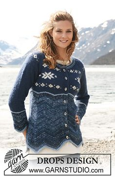 """Ravelry: Jacket with zigzag and star pattern in """"Fabel"""", """"Vivaldi,"""" and """"Alpaca"""" pattern by DROPS design Drops Design, Drops Patterns, Star Patterns, Knit Sweater Dress, Knit Jacket, Sweater Knitting Patterns, Free Knitting, Magazine Drops, Knitted Shawls"""