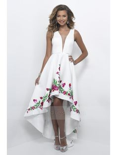 Deep V-neck and V Back Sleeveless Embroidery White Satin High Low Prom Dress