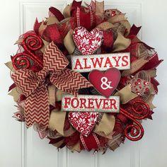 Valentine's Deco Mesh Wreath, Valentines Wreath, Valentine's Always and Forever Wreath, Burlap Valentine's Wreath, Red and Burlap Wreath by RhondasCre8iveCorner on Etsy